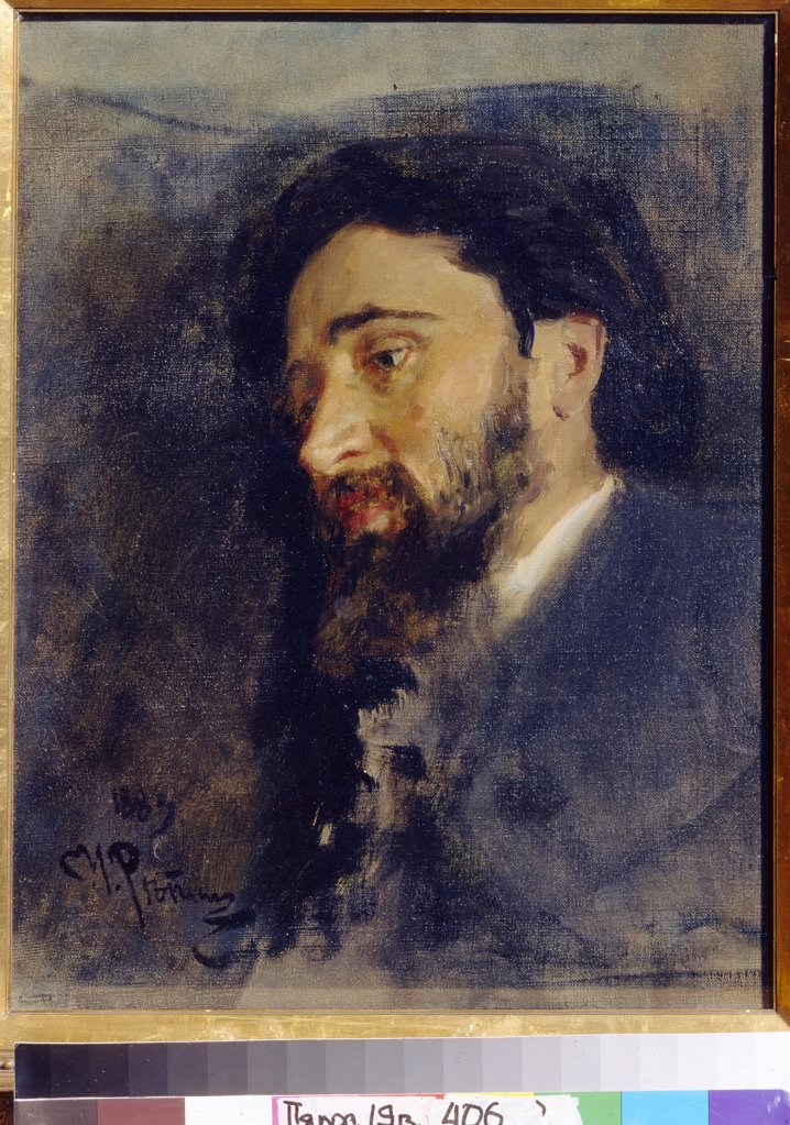 Stock Photo: 4266-19896 Portrait of the author Vsevolod M. Garshin (1855-1888) by Repin, Ilya Yefimovich (1844-1930)/ State Tretyakov Gallery, Moscow/ 1883/ Russia/ Oil on canvas/ Realism/ 47,7x40,3/ Portrait