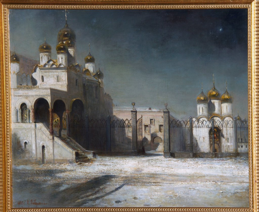Stock Photo: 4266-19903 The Cathedral Square in the Moscow Kremlin at Night by Savrasov, Alexei Kondratyevich (1830-1897)/ Private Collection/ 1878/ Russia/ Oil on canvas/ Realism/ 53,5x76/ Architecture, Interior,Landscape
