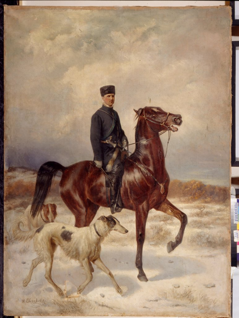 Stock Photo: 4266-19909 The Hunter by Sverchkov, Nikolai Yegorovich (1817-1898)/ State Art Museum of the Dagestan Republic, Makhatchkala/ Russia/ Oil on canvas/ Russian Painting of 19th cen./ Genre