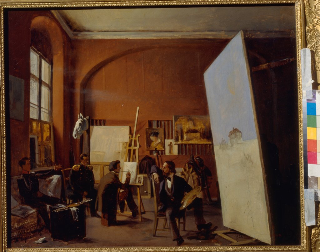 Stock Photo: 4266-19913 Studio of the painter Count Vasily Maksutov by Sorokin, Yevgraf Semyonovich (1821-1892)/ State Tretyakov Gallery, Moscow/ 1858/ Russia/ Oil on canvas/ Neoclassicism/ 46x55/ Architecture, Interior,Genre
