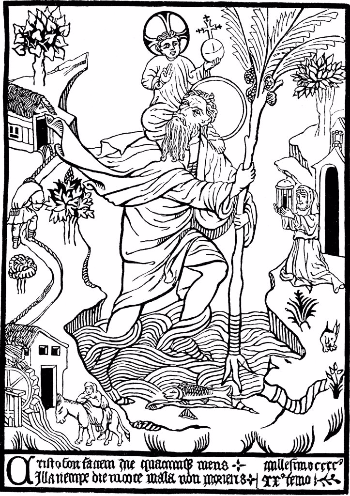 St Christopher carrying Jesus Christ by unknown painter, woodcut, 1423, Private Collection : Stock Photo