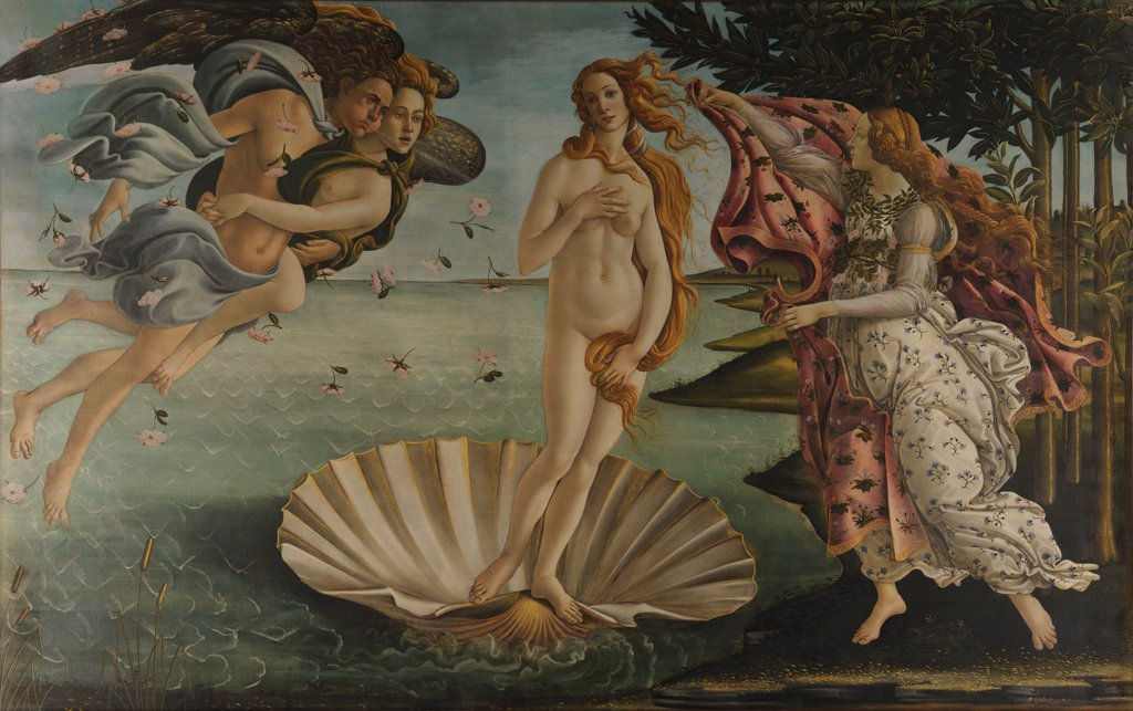 Birth of Venus by Sandro Botticelli, tempera on canvas, circa 1482-1486, 1445-1510, Florentine School, Italy, Florence, Galleria degli Uffizi, 172, 5x278 : Stock Photo