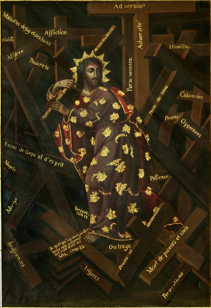 Stock Photo: 4266-20077 El Cristo de las Cruces by Moyen, Francisco (1720-1761)/ Santa Teresa Convent Museum, Potosi, Bolivia/ Early 18th cen./ France/ Oil on canvas/ Baroque/ 154,3x114/ Bible