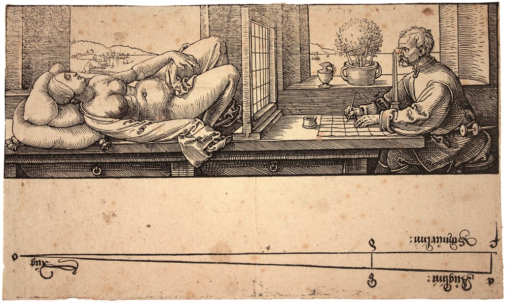 Stock Photo: 4266-20078 Artist Drawing a Nude with Perspective Device by Durer, Albrecht (1471-1528)/ University of Erlangen/ 1538/ Germany/ Woodcut/ Renaissance/ 7,5x21,4/ Genre