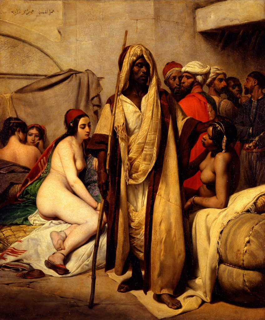 The Slave Market by Vernet, Horace (1789-1863)/ Staatliche Museen, Berlin/ 1836/ France/ Oil on canvas/ Orientalism/ 65x54/ Genre : Stock Photo