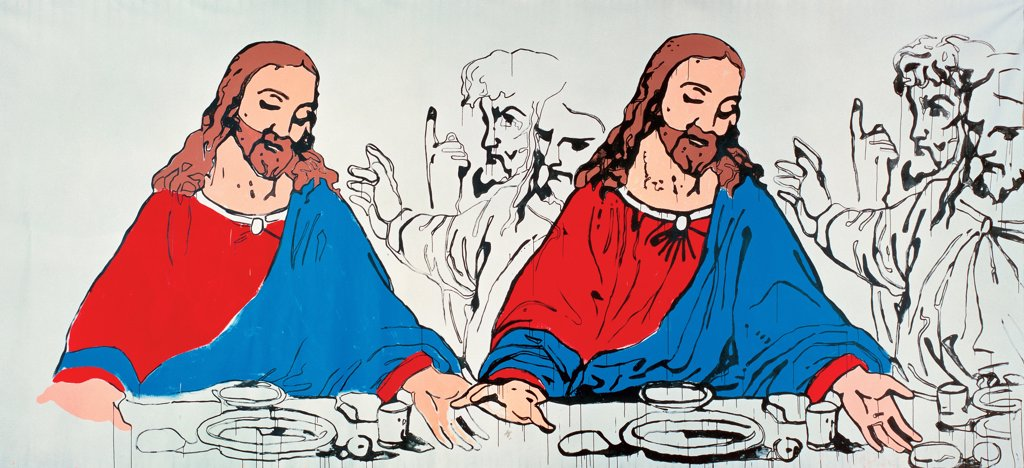 The Last Supper by Warhol, Andy (1928-1987)/ Private Collection/ 1985/ The United States/ Silkscreen ink on synthetic polymer paint on canvas/ Pop-Art/ 305x671/ Bible : Stock Photo