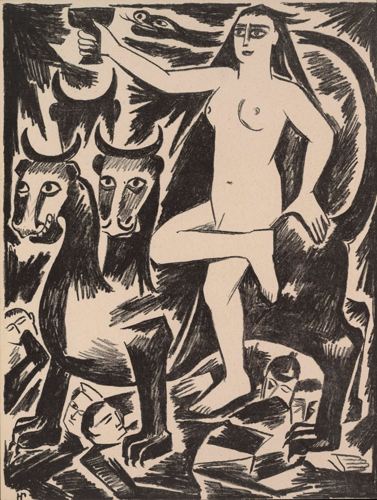 Stock Photo: 4266-20112 The Woman on the Beast. From the Series 'The Mystical Images of War' by Goncharova, Natalia Sergeevna (1881-1962)/ Private Collection/ 1914/ Russia/ Lithograph/ Expressionism/ Mythology, Allegory and Literature,History