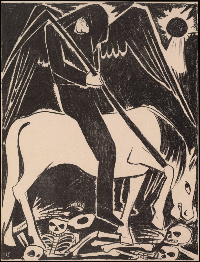 Stock Photo: 4266-20118 Pale Horse. From the Series 'The Mystical Images of War' by Goncharova, Natalia Sergeevna (1881-1962)/ Private Collection/ 1914/ Russia/ Lithograph/ Expressionism/ Mythology, Allegory and Literature,History