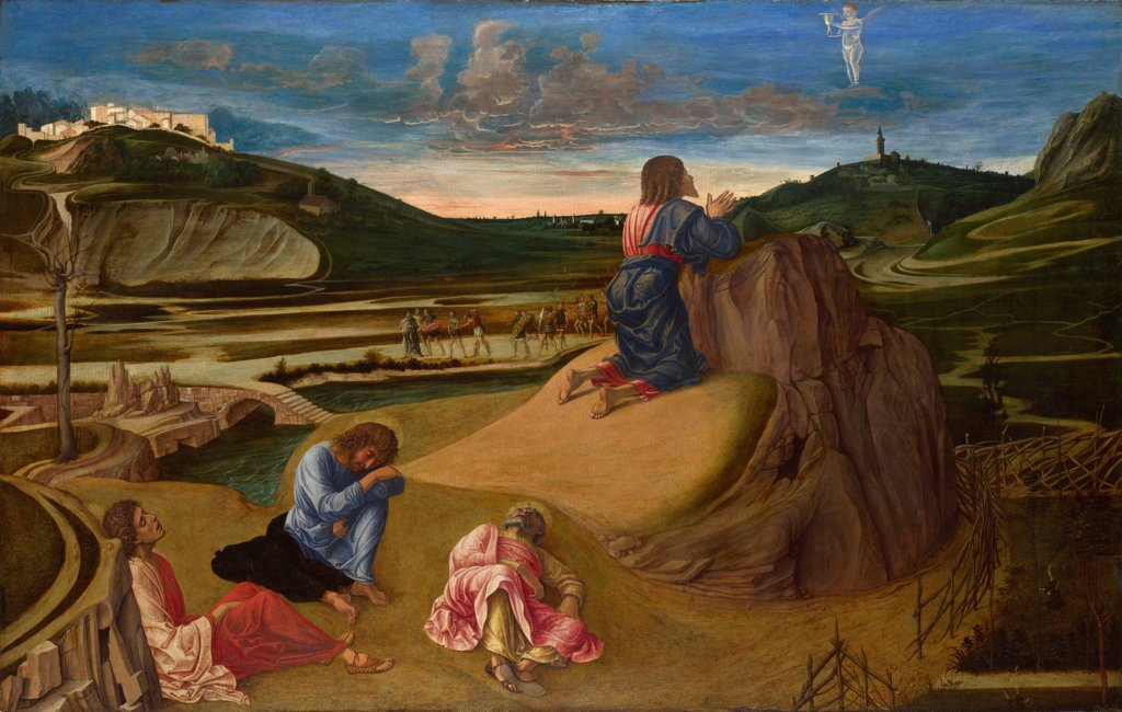 Stock Photo: 4266-20143 The Agony in the Garden by Bellini, Giovanni (1430-1516)/ National Gallery, London/ ca 1465/ Italy, Venetian School/ Tempera on panel/ Renaissance/ 81,3x127/ Bible