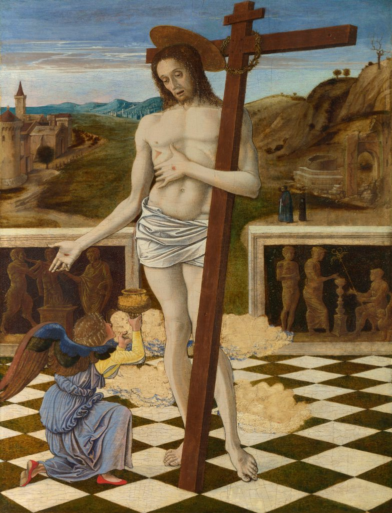 Stock Photo: 4266-20145 The Blood of the Redeemer by Bellini, Giovanni (1430-1516)/ National Gallery, London/ ca 1460/ Italy, Venetian School/ Tempera on panel/ Renaissance/ 47x34,3/ Bible