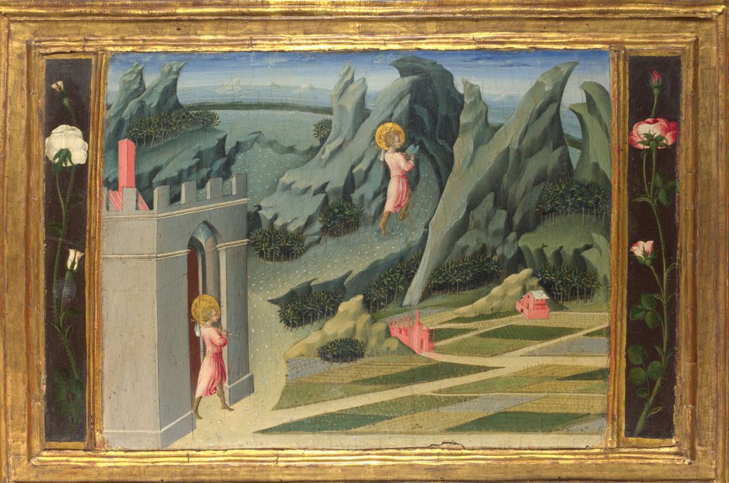Stock Photo: 4266-20149 Saint John the Baptist retiring to the Desert (Predella Panel) by Giovanni di Paolo (ca 1403-1482)/ National Gallery, London/ 1454/ Italy, School of Siena/ Tempera on panel/ Renaissance/ 30,5x49/ Bible