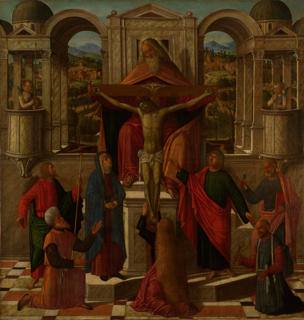 Symbolic Representation of the Crucifixion by Mansueti, Giovanni di Niccolo (c. 1465-1527)/ National Gallery, London/ c. 1492/ Italy, Venetian School/ Oil on canvas/ Renaissance/ 129,5x124/ Bible : Stock Photo