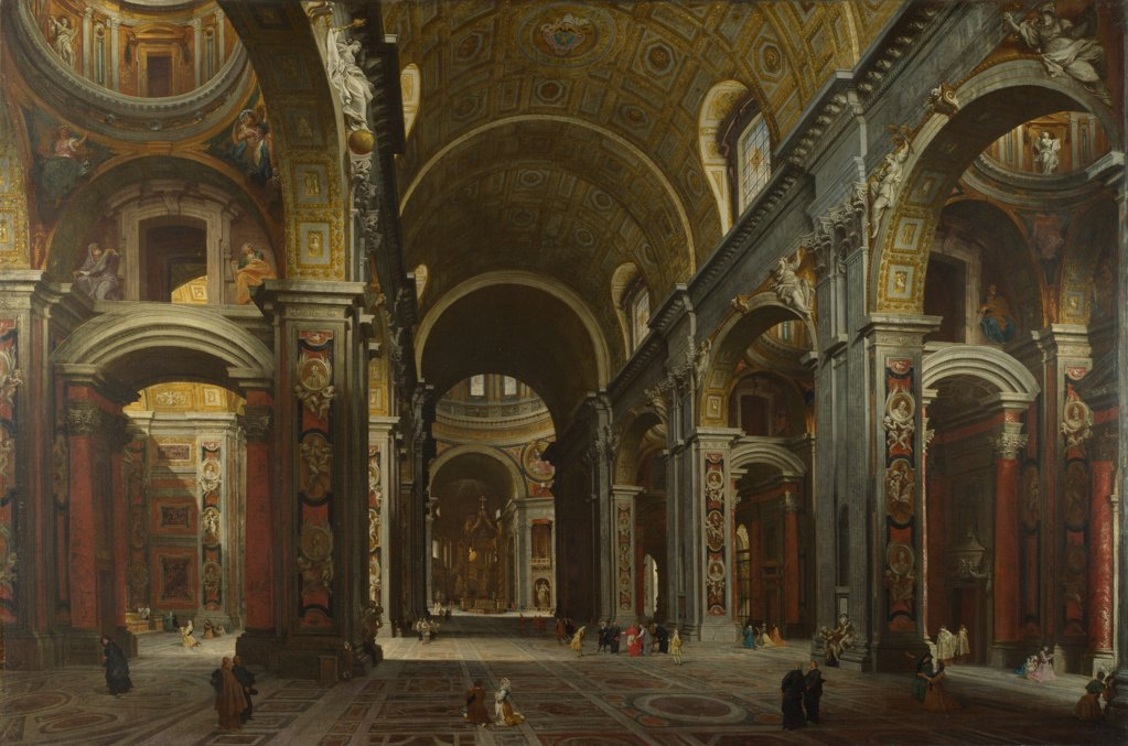 Stock Photo: 4266-20158 Interior of the Basilica of Saint Peter in Rome by Panini, Giovanni Paolo (1691-1765)/ National Gallery, London/ before 1742/ Italy, Roman School/ Oil on canvas/ Rococo/ 149,8x223/ Architecture, Interior