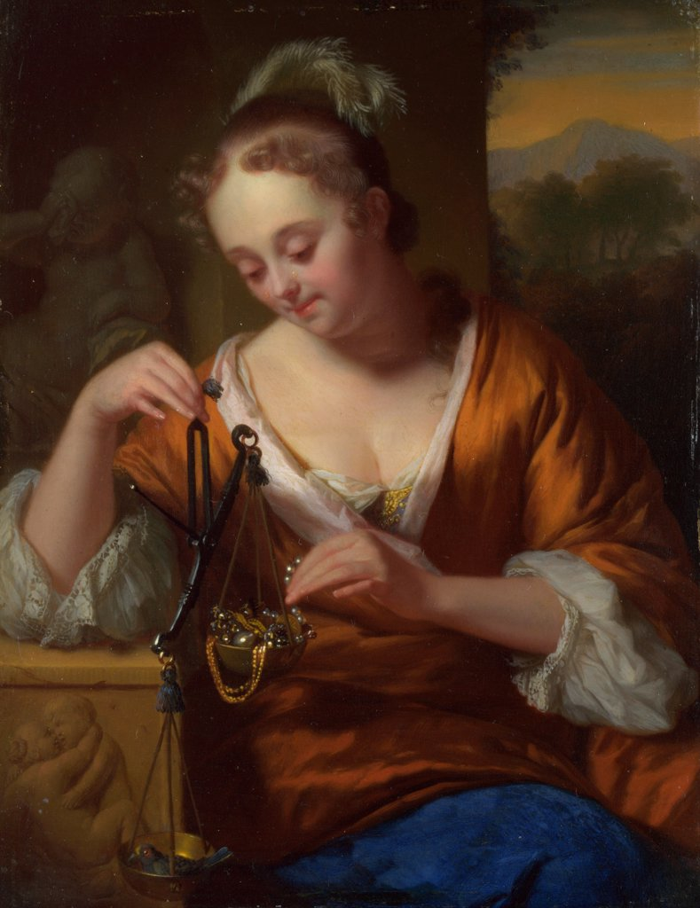 Allegory of Virtue and Riches by Schalcken, Godfried Cornelisz (1643-1706)/ National Gallery, London/ ca. 1665-1667/ Holland/ Oil on copper/ Baroque/ 17,1x13,1/ Mythology, Allegory and Literature : Stock Photo