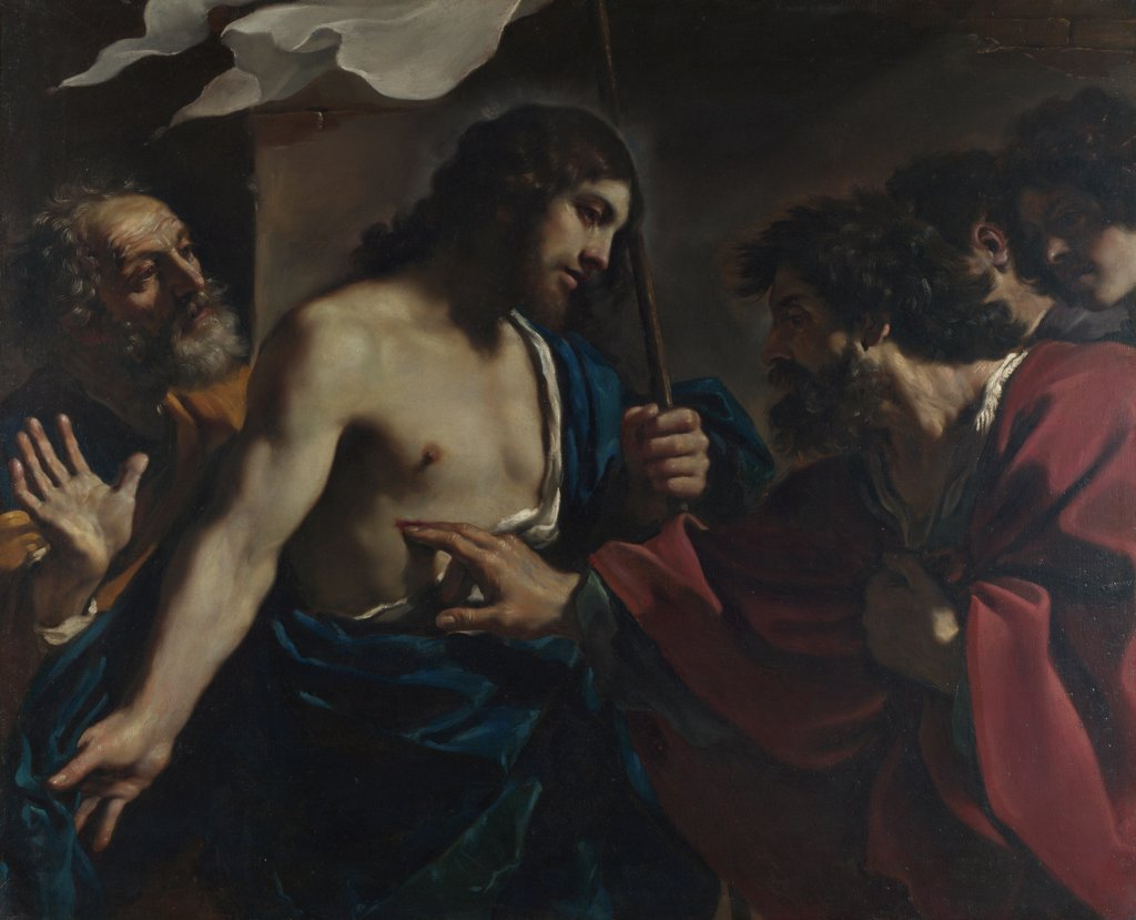 The Incredulity of Saint Thomas by Guercino (1591-1666)/ National Gallery, London/ 1621/ Italy, Bolognese School/ Oil on canvas/ Baroque/ 115x142/ Bible : Stock Photo