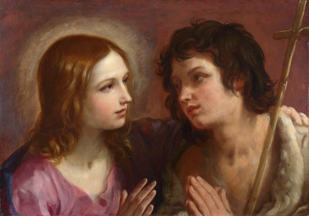 Stock Photo: 4266-20170 Christ embracing Saint John the Baptist by Reni, Guido (1575-1642)/ National Gallery, London/ c. 1640/ Italy, Bolognese School/ Oil on canvas/ Baroque/ 48,5x68,5/ Bible