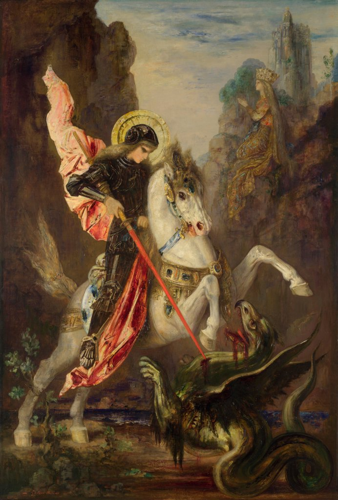 Stock Photo: 4266-20178 Saint George and the Dragon by Moreau, Gustave (1826-1898)/ National Gallery, London/ 1889-1890/ France/ Oil on canvas/ Symbolism/ 141x96,5/ Bible