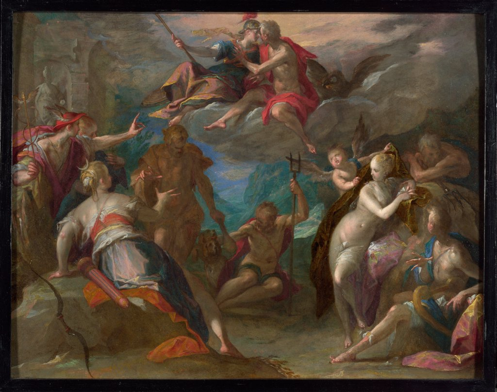 Stock Photo: 4266-20181 The Amazement of the Gods by Aachen, Hans von (1552-1615)/ National Gallery, London/ 1590s/ Germany/ Oil on copper/ Mannerism/ 35,5x45,8/ Mythology, Allegory and Literature