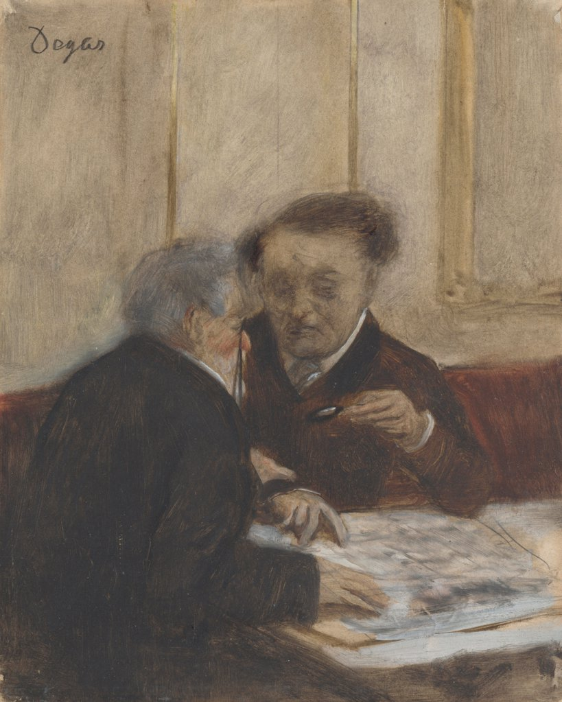 Stock Photo: 4266-20194 At the Cafe Chateaudun by Degas, Edgar (1834-1917)/ National Gallery, London/ c. 1870/ France/ Oil on paper/ Impressionism/ 23,7x19/ Genre
