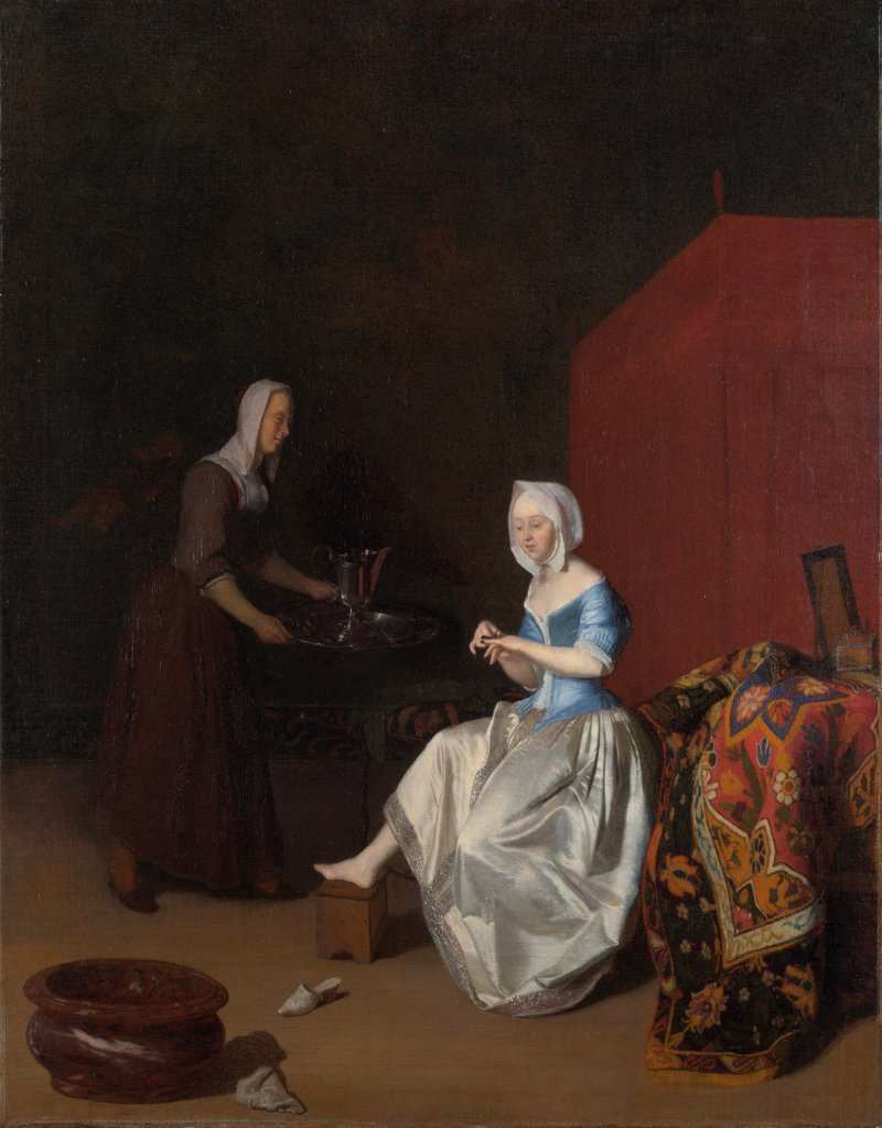 A Young Lady trimming her Fingernails, attended by a Maidservant by Ochtervelt, Jacob Lucasz. (1634-1682)/ National Gallery, London/ c. 1670/ Holland/ Oil on canvas/ Baroque/ 74,6x59/ Genre : Stock Photo
