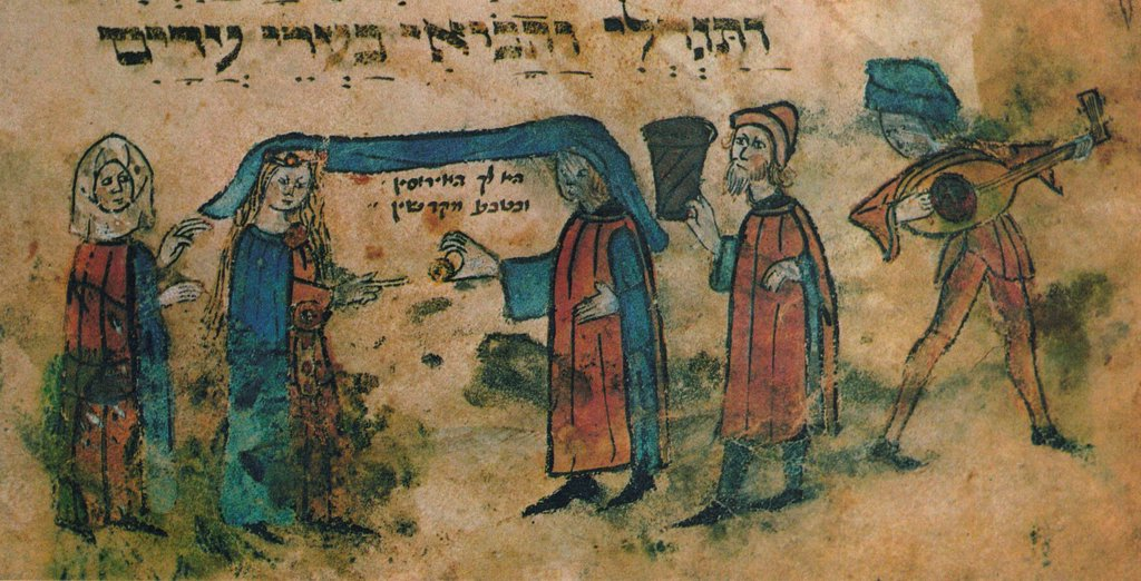 Stock Photo: 4266-20244 Marriage. Haggadah by Anonymous  / Museum Judenplatz, Vienna/ Mid of the 15th cen./ Watercolour on parchment/ Medieval art/ Genre,Mythology, Allegory and Literature,History