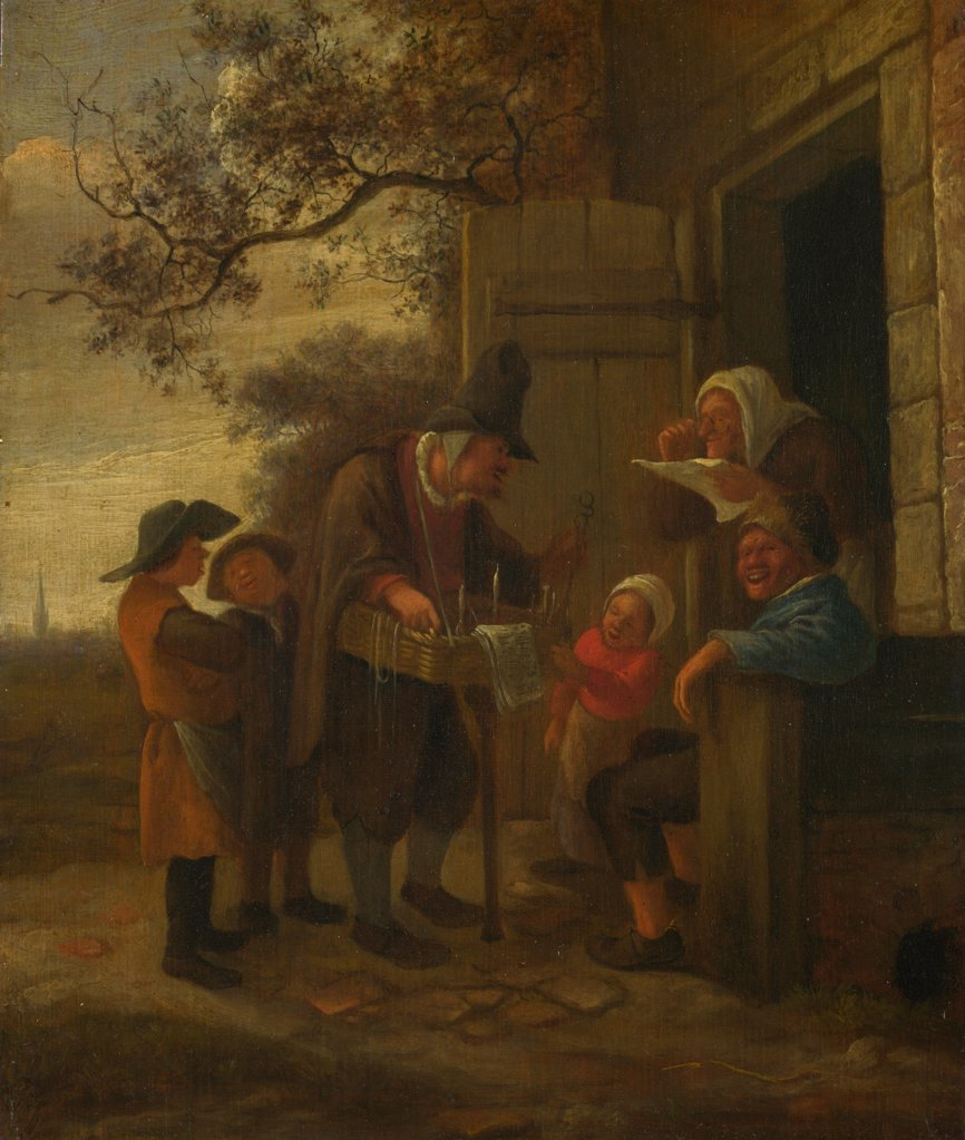 Stock Photo: 4266-20254 A Pedlar selling Spectacles outside a Cottage by Steen, Jan Havicksz (1626-1679)/ National Gallery, London/ c. 1653/ Holland/ Oil on wood/ Baroque/ 24,6x20,3/ Genre