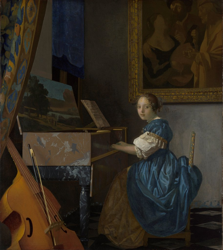 A Young Woman seated at a Virginal by Vermeer, Jan (Johannes) (1632-1675)/ National Gallery, London/ c. 1670/ Holland/ Oil on canvas/ Baroque/ 51,5x45,5/ Genre : Stock Photo