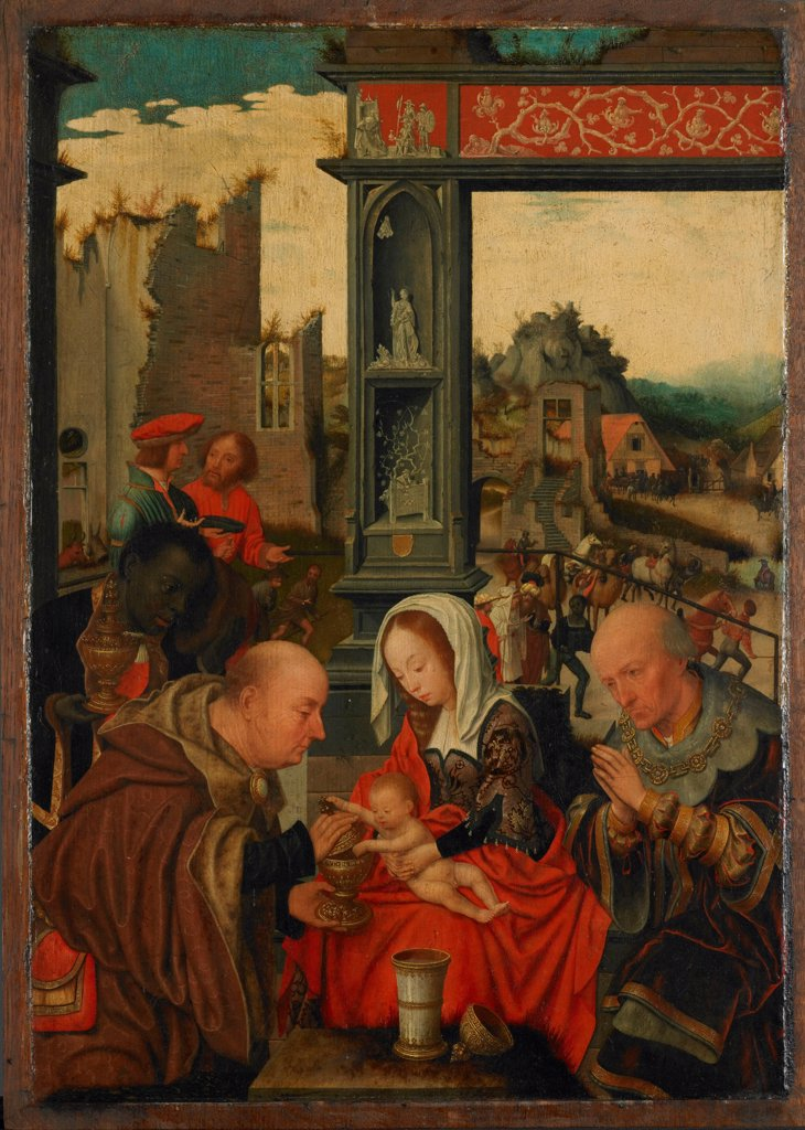 Stock Photo: 4266-20373 The Adoration of the Kings by Mostaert, Jan (1472/73-1555/56)/ Museum Boijmans Van Beuningen, Rotterdam/ 1525/ The Netherlands/ Oil on wood/ Early Netherlandish Art/ 51x36,7/ Bible