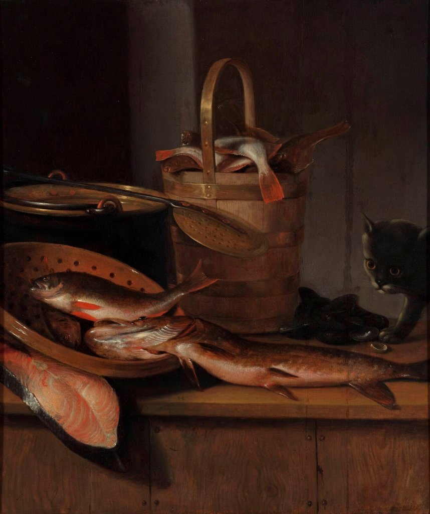 Stock Photo: 4266-20395 Still life with fish and a cat by Vaillant, Wallerant (1623-1677)/ Museum Boijmans Van Beuningen, Rotterdam/ c. 1650-1660/ Holland/ Oil on wood/ Baroque/ 71,5x62/ Still Life