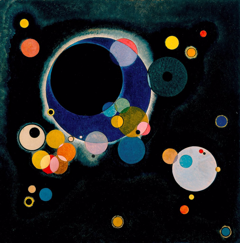 Several Circles by Kandinsky, Wassily Vasilyevich (1866-1944)/ New Orleans Museum of Art/ 1926/ Russia/ Oil on paper/ Abstract expressionism/ 71x71/ Abstract Art : Stock Photo