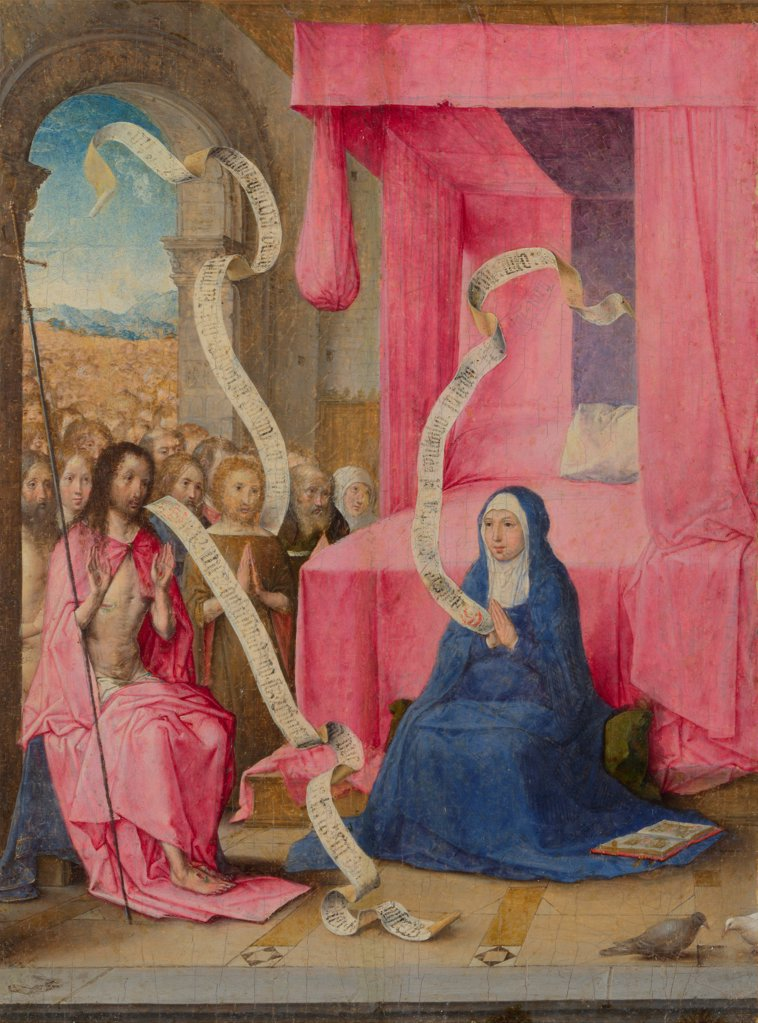 Stock Photo: 4266-20453 Christ appearing to the Virgin with the Redeemed of the Old Testament by Juan de Flandes (ca. 1465-1519)/ National Gallery, London/ c. 1500/ The Netherlands/ Oil on wood/ Early Netherlandish Art/ 21,2x15,4/ Bible