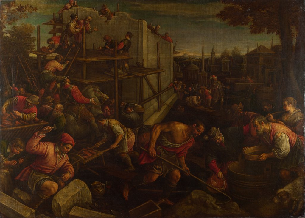 Stock Photo: 4266-20464 The Tower of Babel by Bassano, Leandro (1557-1622)/ National Gallery, London/ ca. 1600/ Italy, Venetian School/ Oil on canvas/ Mannerism/ 137x189,2/ Bible