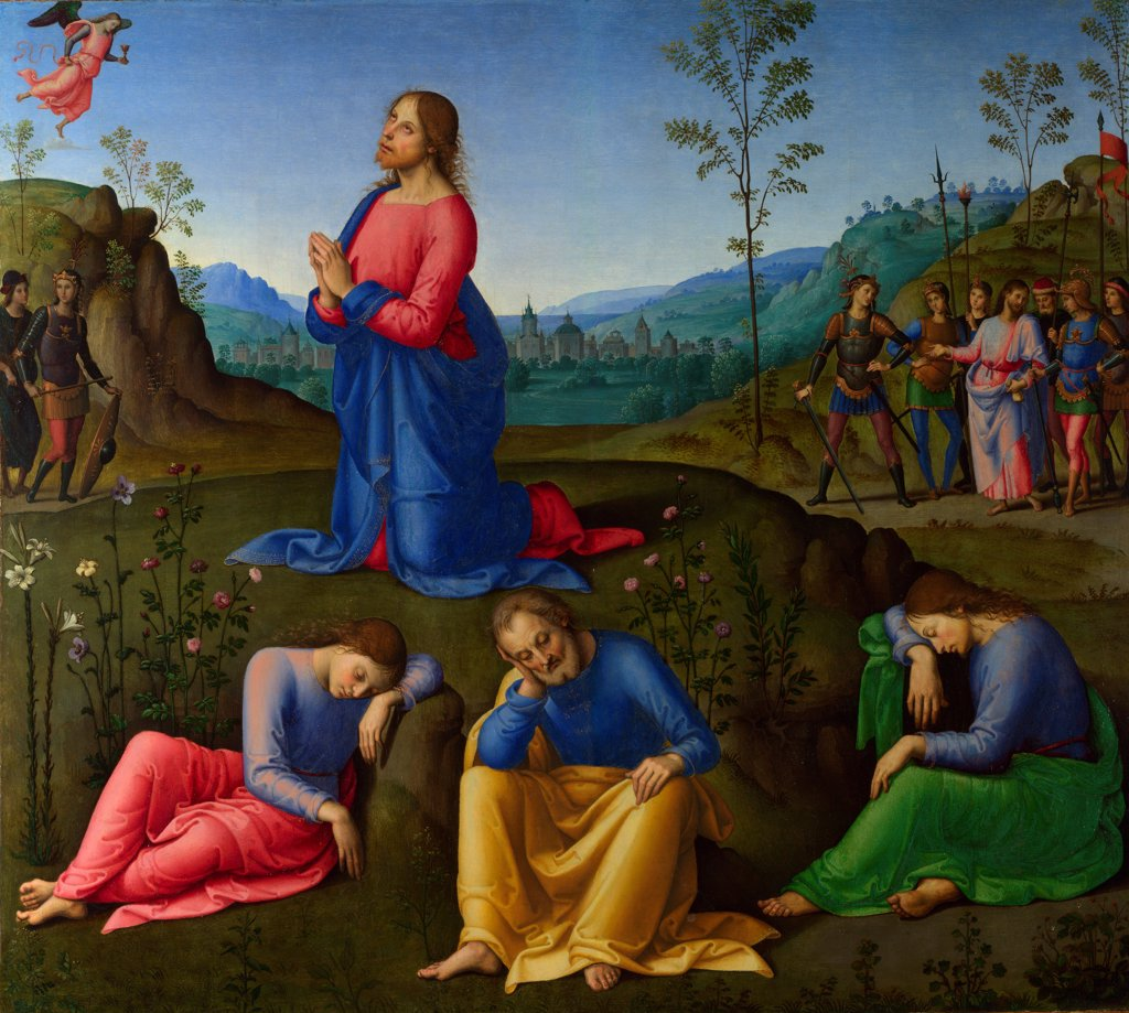 Stock Photo: 4266-20469 The Agony in the Garden by Lo Spagna, (Giovanni di Pietro) (1450-1528)/ National Gallery, London/ c. 1502-1503/ Italy, School of Umbria/ Oil on wood/ Renaissance/ 60,3x67,3/ Bible