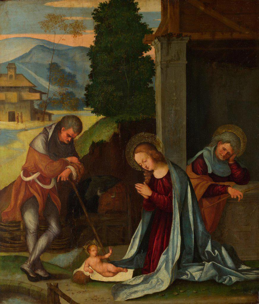 Stock Photo: 4266-20470 The Nativity by Mazzolino, Ludovico (1480-1528)/ National Gallery, London/ c. 1505/ Italy, School of Ferrara/ Oil on wood/ Renaissance/ 39,4x34,3/ Bible