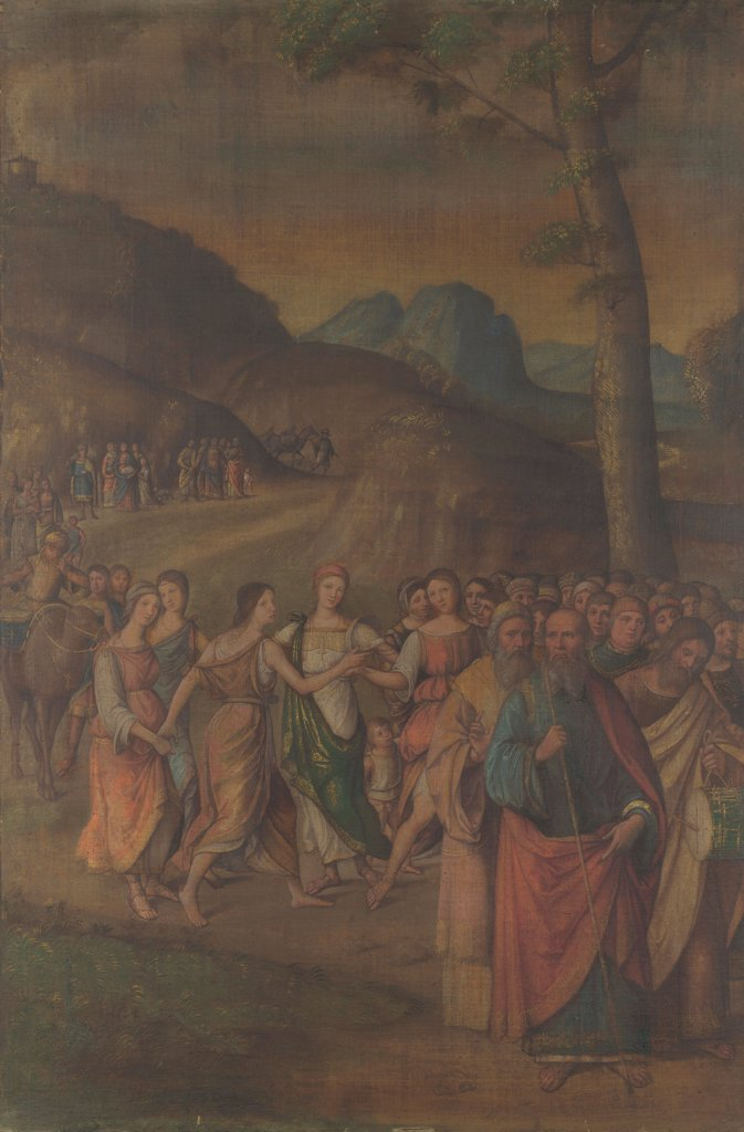Stock Photo: 4266-20483 The Dance of Miriam (from the Story of Moses) by Costa, Lorenzo (1460-1535)/ National Gallery, London/ after 1508/ Italy, School of Ferrara/ Tempera on canvas/ Renaissance/ 119,3x78,7/ Bible