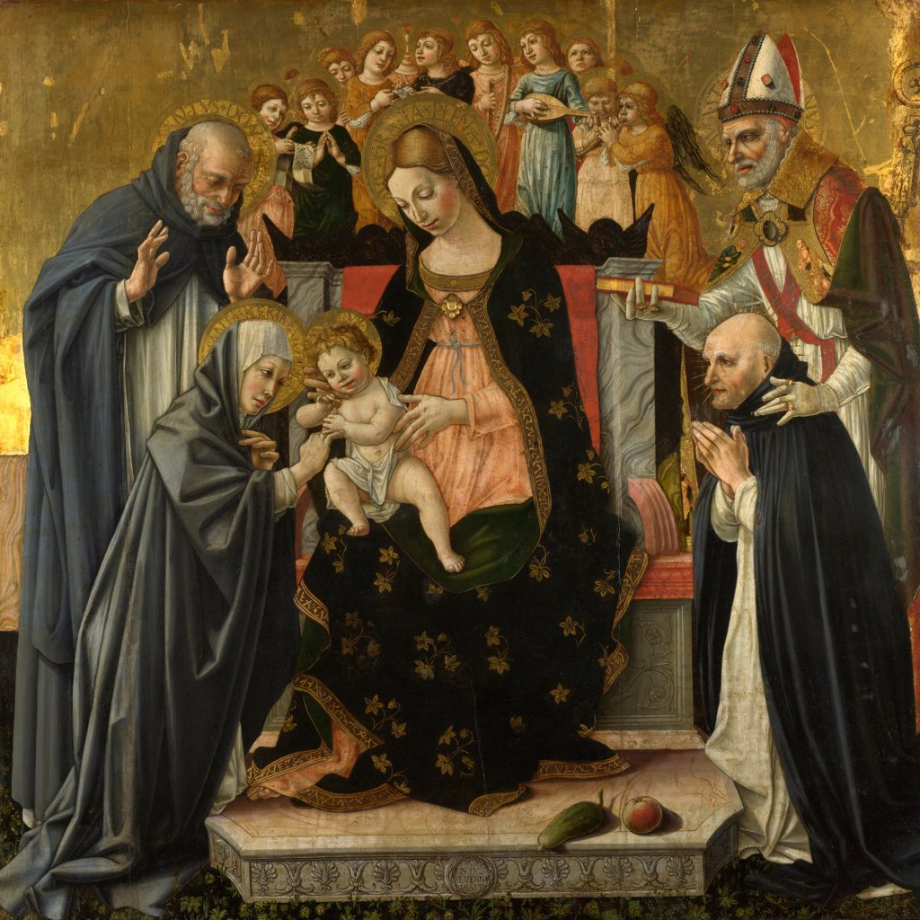 Stock Photo: 4266-20485 The Mystic Marriage of Saint Catherine of Siena by Lorenzo d'Alessandro (ca 1445-1503)/ National Gallery, London/ c.1490-1495/ Italy, Severinate school/ Tempera and oil on wood/ Renaissance/ 145x145,4/ Bible