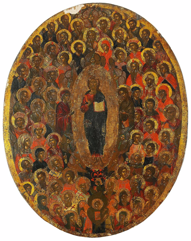 Deesis by Russian icon  / Private Collection/ 17th century/ Russia/ Tempera on panel/ Russian icon painting/ 40,5x32,5/ Bible : Stock Photo