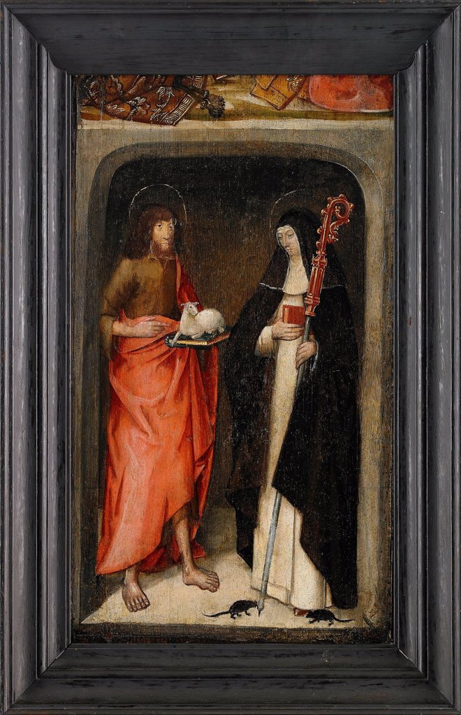 Stock Photo: 4266-20494 Saint John the Baptist and Saint Gertrude of Nivelles by Master of St. Gudule (active End of 15th cen.)/ Private Collection/ 1480/ Flanders/ Oil on wood/ Early Netherlandish Art/ 46,5x27/ Bible
