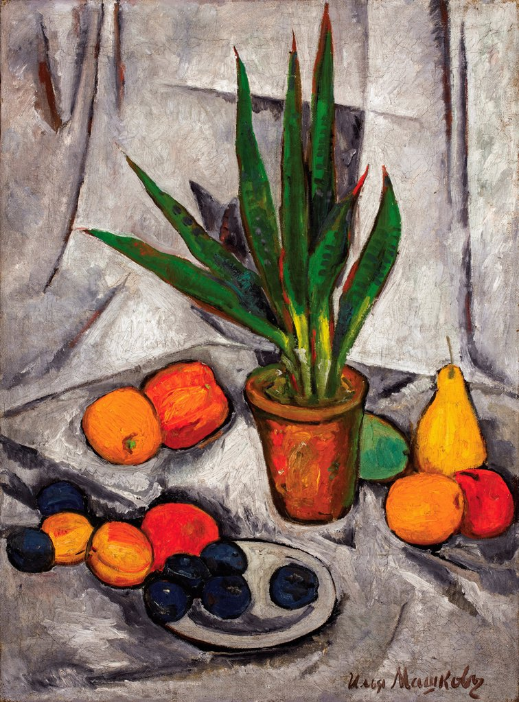 Stock Photo: 4266-20522 Still Life with Plant and Fruit by Mashkov, Ilya Ivanovich (1881-1958)/ Private Collection/ 1914-1915/ Russia/ Oil on canvas/ Russian avant-garde/ 121,9x89,5/ Still Life