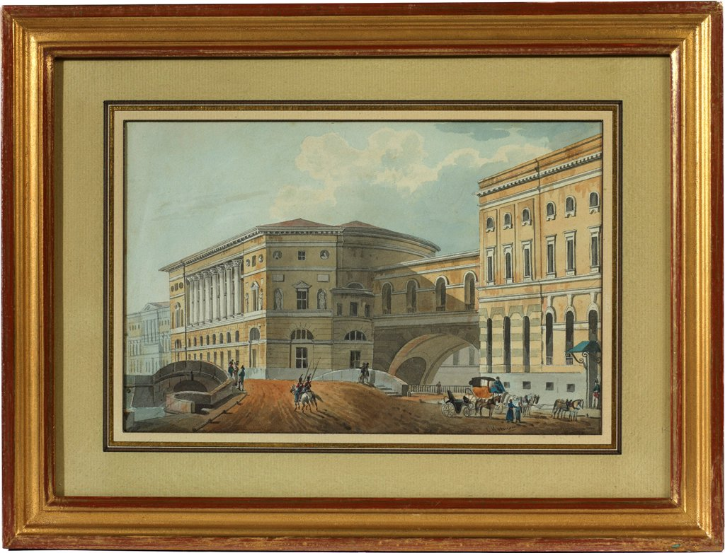 Stock Photo: 4266-20586 View of the Palace Embankment in St. Petersburg by Kolmann, Karl Ivanovich (1786-1846)/ Patrimoine comte Charles-Andre Colonna Walewski/ First quarter of 19th cen./ Russia/ Watercolour, Gouache on Paper/ Classicism/ 15,5x23,5/ Architecture, Interior,Land