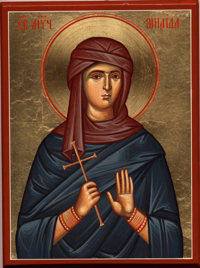 Saint Zenaida of Tarsus by Greek icon  / St. Demetrios Church, Pomona/ 1990s/ Greece/ Tempera on panel/ Icon Painting/ Bible : Stock Photo