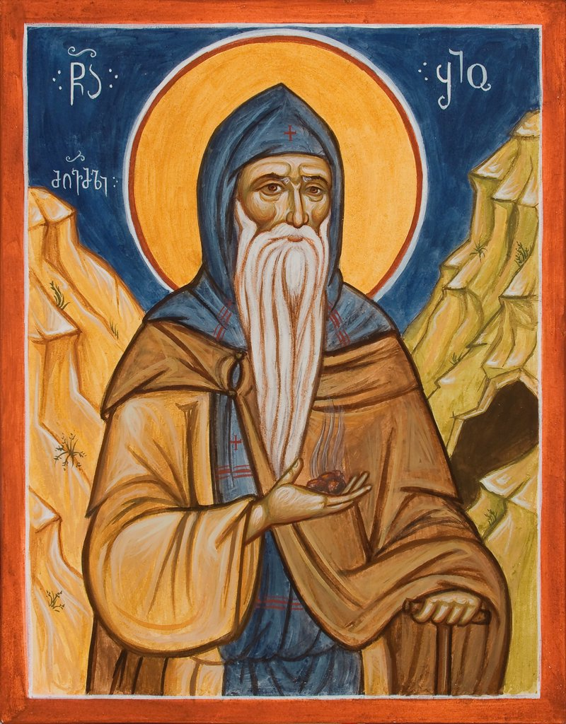 Saint Shio of Mgvime by Greek icon  / St. Demetrios Church, Pomona/ 1990s/ Greece/ Tempera on panel/ Icon Painting/ Bible : Stock Photo