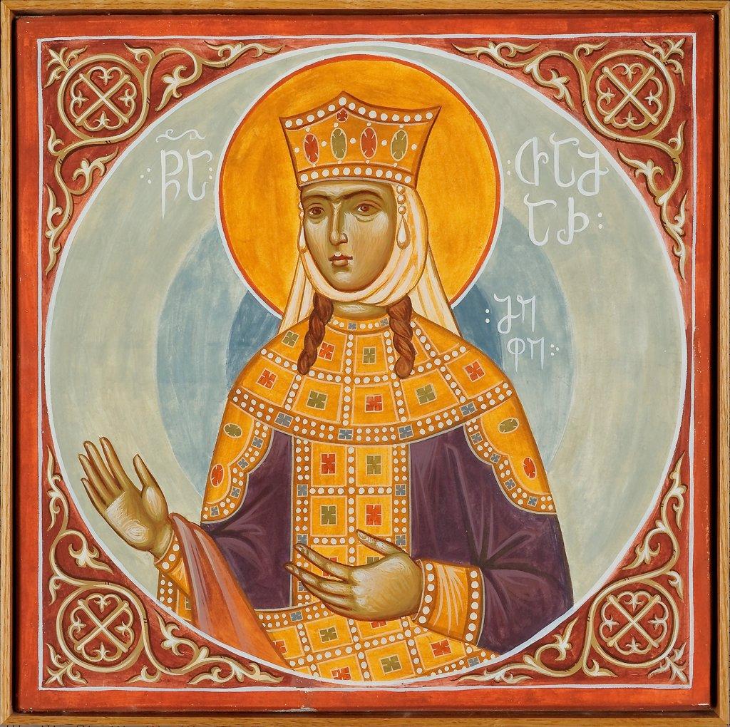 Saint Tamar of Georgia by Greek icon  / St. Demetrios Church, Pomona/ 1990s/ Greece/ Tempera on panel/ Icon Painting/ Bible : Stock Photo