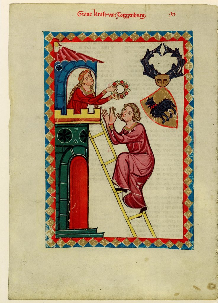 Count Kraft III of Toggenburg (From the Codex Manesse) by Anonymous  / Library of the Ruprecht Karl University, Heidelberg/ Between 1305 and 1340/ Schwitzerland/ Gouache on parchment/ Medieval art/ 35x25/ Music, Dance,History : Stock Photo