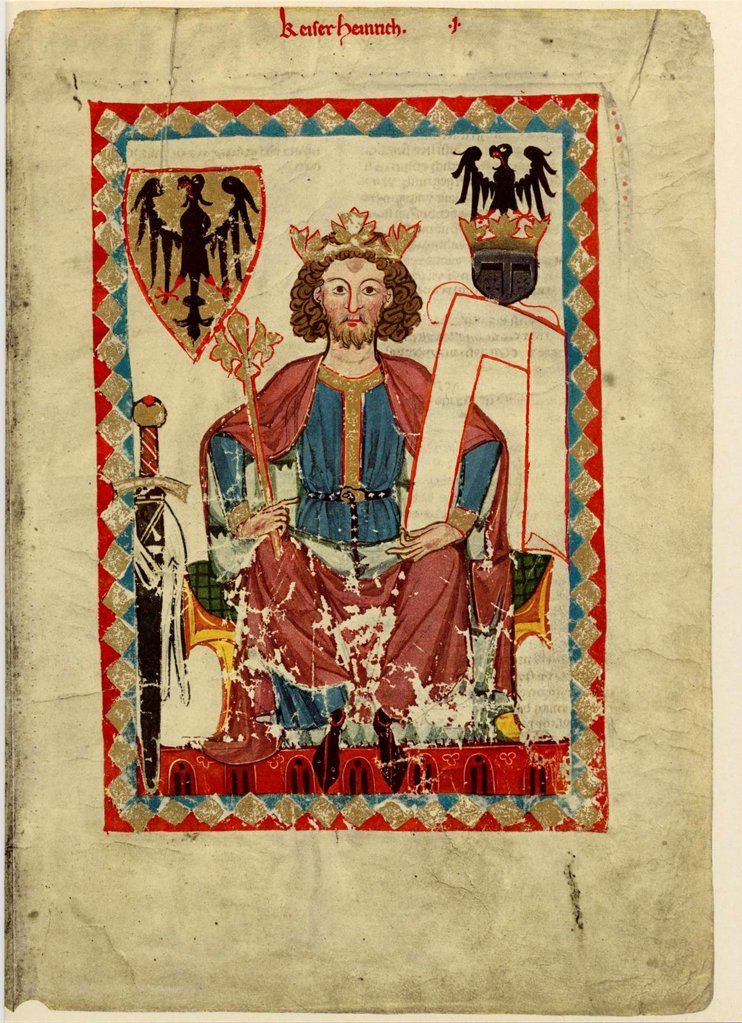 Stock Photo: 4266-20649 Henry VI (1165-1197), Holy Roman Emperor (From the Codex Manesse) by Anonymous  / Library of the Ruprecht Karl University, Heidelberg/ Between 1305 and 1340/ Schwitzerland/ Gouache on parchment/ Medieval art/ 35x25/ Music, Dance,History