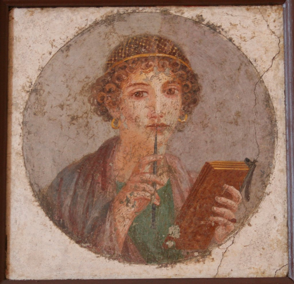 Stock Photo: 4266-20651 A young woman with book and stylus (So-called Sappho) by Master of Herculaneum (1st century)/ Museo Archeologico Nazionale di Napoli/ ca 50/ Fresco/ Art of Ancient Rome/ D 29/ Portrait,Mythology, Allegory and Literature