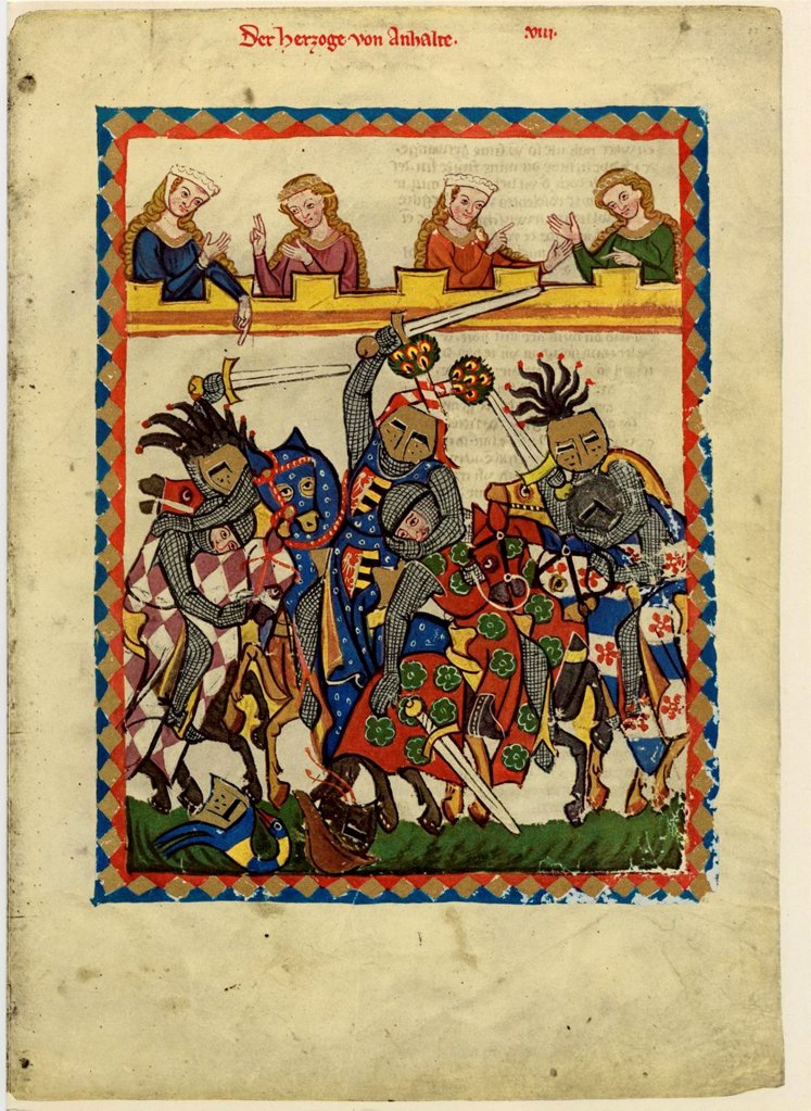 Henry I, Count of Anhalt (From the Codex Manesse) by Anonymous  / Library of the Ruprecht Karl University, Heidelberg/ Between 1305 and 1340/ Schwitzerland/ Gouache on parchment/ Medieval art/ 35x25/ Music, Dance,History : Stock Photo