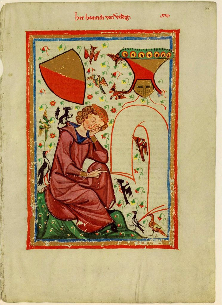 Stock Photo: 4266-20664 Heinrich von Veldeke (From the Codex Manesse) by Anonymous  / Library of the Ruprecht Karl University, Heidelberg/ Between 1305 and 1340/ Schwitzerland/ Gouache on parchment/ Medieval art/ 35x25/ Music, Dance,History