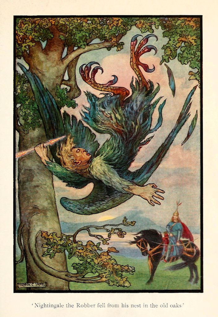 Stock Photo: 4266-20670 Illustration for the Fairy tale Nightingale the Robber by Pape, Frank Cheyne (1878-1972)/ Private Collection/ 1916/ England/ Colour lithograph/ Book design/ Mythology, Allegory and Literature