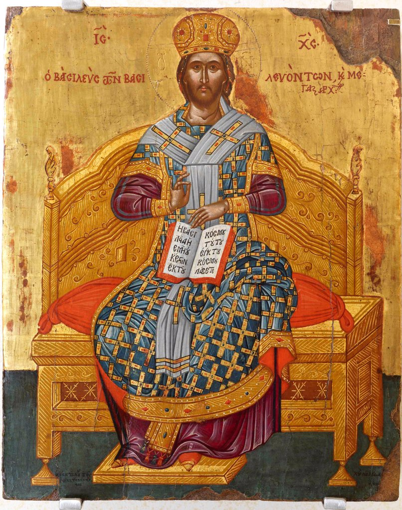 Stock Photo: 4266-20806 Christ Enthroned (Saviour of the World) by Russian icon  / Private Collection/ 18th century/ Russia/ Tempera on panel/ Russian icon painting/ Bible